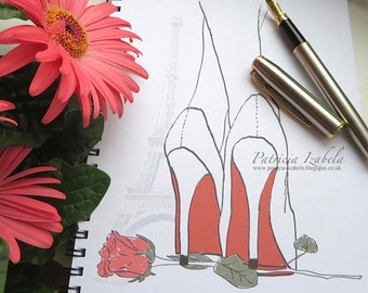 Designer RED SOLES Notebook, chic feminine notebook fashion fashion notebook fashion print, Paris notebook, the Eiffel Tower Paris