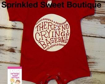 There's No Crying in Baseball Red Shirt Custom Baseball Romper Shortall Girls or Boys Sports