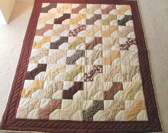 Handmade Bow Tie quilt, machine pieced , hand quilted