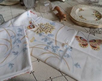 Two Vintage White Cotton with Butterflies/Butterfly and Large Flowers Standard Sized Pillow Cases