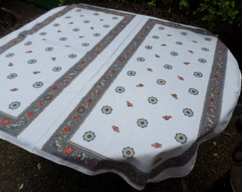 """Vintage Cotton Square Tablecloth-White with Blue/Orange/Flowers and Stripes Design-Table Decor/Serving-36""""x40"""""""