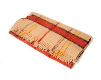 Vintage Tan Wool Scarf, Red and Tan Tartan Plaid Winter Scarf, 70s Plaid Scarf, Fringed Scarf