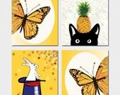 Set of Four 8x10 Prints, Yellow Wall Art Print, Home Decor, Butterfly Print, White Bunny Print & Top Hat, Black Cat Art, Pineapple Print