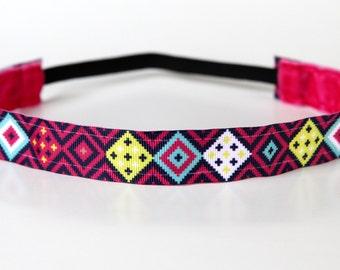 "Modern Tribal Print Headband NonSlip 1"", Fitness Headband, Gift for Runners, Stocking Stuffer, Workout Accessory, Running Apparel, Under 5"