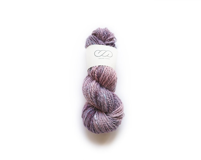 Ovilab Experimental Collection | Lilac Whisper | Handspun, Hand-dyed Worsted Yarn | Fine Aplaca and Raw Silk