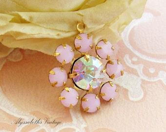 Pink Alabaster & AB Crystal Swarovski Rhinestone Daisy Flower Charm Pendant 1 Ring Brass Setting 19mm Round - 1