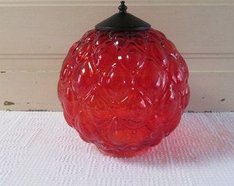 Painted Red Quilted Glass Lamp Globe, Hanging Light Red Glass Shade