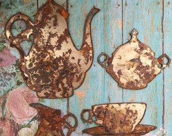 A Spot Of Tea  Rusted Metal Tea Set Kitchen Decor Symbols Rusty Objects Home Decor Wall Hangings Rusty Metal Tea Set Victorian Tea Sets Etsy