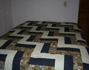 twin/full Quilt - Rail fence with owls