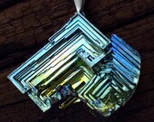Bismuth Crystal Pendant on Leather or Snake Chain Boho Jewelry - Bismuth Jewelry