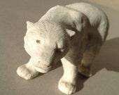 Antique bisque porcelain polar bear figurine White biscuit pottery Arctic bear statue Detailled fur Standing bear Animal figure