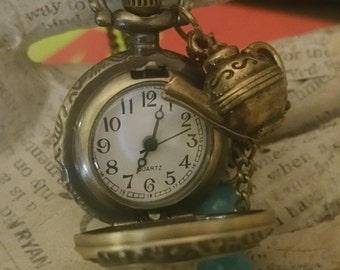 Alice in Wonderland Pocket Watch Necklace Steampunk Pocket Watch Jewelry