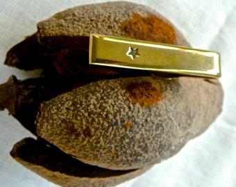 Vintage Tie Bar - Men's Jewelry - Shields Tie Clip -Star Decorated - Gold Tie Accessories -Wedding -Gridegroom Jewelry - Boardroom Tie Pin