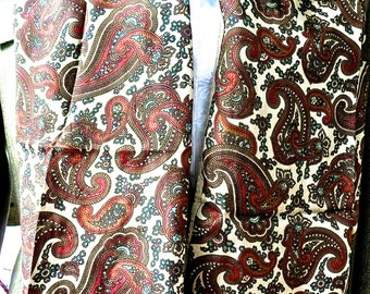 Vintage Scarf- Long Narrow Scarf - Unisex Silk Scarf - Wide Long Neck Scarf - Paisley - Fringed Neck Scarf - Urban Hipster - Fall Wardrobe