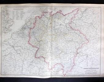 Blackie 1860 Antique Map. The German Confederation