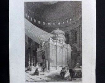 Finden 1836 Antique Print. Jerusalem Interior Of The Church Of Holy Sepulchre