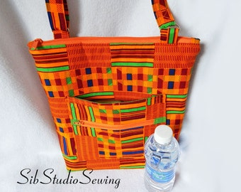 Kente Crossbody Bag, 12.5 H x 11.5 W x 2 inches, Adjustable Strap, Outer and Inner Pockets, Zipper Closure, African Hipster Bag, Tribal Bag