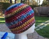 Scrap stripes large stitch crochet beanie hat. Fun to make
