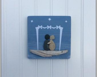 Mixed Media, Pebble Art, Engagement Gift, Driftwood, Love, Beach Decor, Nautical Decor, Beach House, Stone Art,  Couples Gift, Coastal Decor