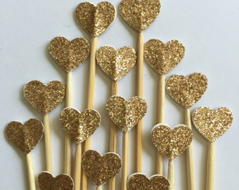 50 Pcs Mini HEART GOLD Glittered - Cupcake Toppers - Birthday Party, Weddings, Bridal Showers