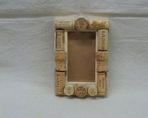 Handcrafted Blue Pine Picture Frames with Wine Corks