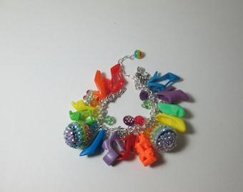 KIDS SIZE /Rainbow  colors / Barbie Shoe  bracelet/ Item 9-093