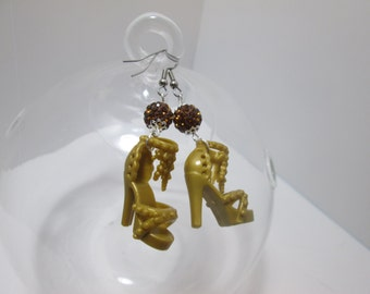 Gold   Barbie Shoes earrings with Fancy beads / On Surgical Steel   wire  / ITEM 7-123