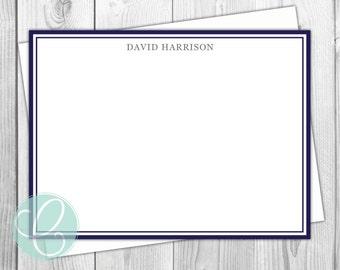 Men's Stationery - Set of 12 - Boys - Flat Note Cards - Modern - Masculine - Simple