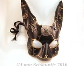 Steampunk Leather Rabbit Mask,  Rabbit, Bunny, Rabbit Costume,  Larp, Animal Mask, Cosplay, Rave, Anime, Halloween, Leather mask
