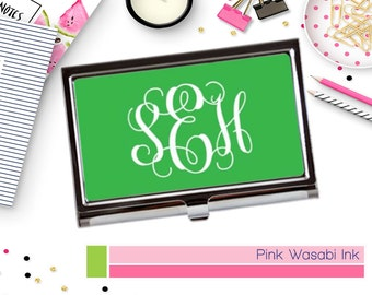 Custom Card Case Monogrammed Business Card Holder Personalized Gift Custom Business Card Case Choose Colors