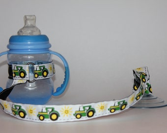 Sippy Cup Leash, Sippy Cup Strap, Baby Bottle Holder, New Baby Gift, Christmas Gift - Tractors