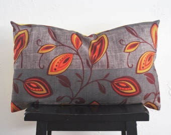 Retro Pillow Cover- 16x26 Red Orange Pods, Grey Lumbar Pillow Cover, Indoor Outdoor