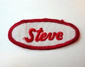Vintage Name Patch STEVE Cloth Embroidered Bowling Name Sew on Patch Uniform 1970s Upcycled Supply