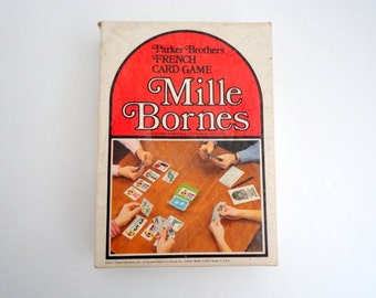 Vintage Mille Bournes  Retro French game 1970s Game night Mixed media supply Fathers Day