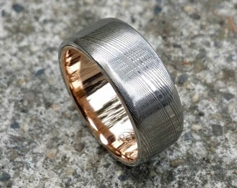 "Gold & Stainless Damascus  7.5mm ring ""wood-grain"" ( customizable)"