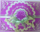 Handmade cards- layered filigree - intricate card in lilac and pastel green - rose card - flower card - with pearls