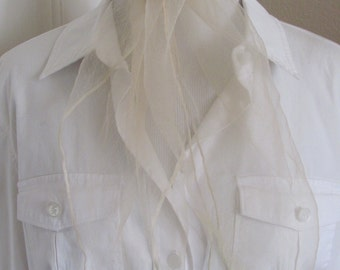 Scarf Solid Beige Off White Sheer Nylon Scarf Square - Affordable Scarves!!! Why Pay More! (37A)
