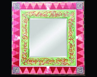 Hand Painted Mirror. Petite Pink Mirror, Decorative Mirror