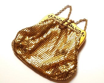 Art Deco Gold Mesh Whiting Davis Purse Satin Lining Gatsby Chainmaille Elegant Handbag