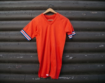 Vintage 70's Jersey V-Neck T Shirt Small