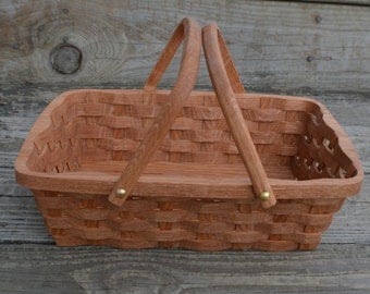 Bread serving basket with handles Oak wood