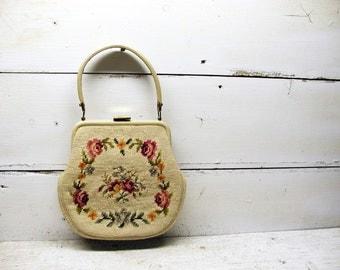 Vintage Floral Needlepoint Handbag Purse Needle Point Pocketbook