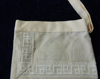 One of a Kind Ivory and Beige Linen and Antique lace Bride's bag