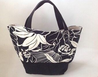 Vintage Black and White Tote Bag, Hobo Purse, Tropical Tribal Design Handbag