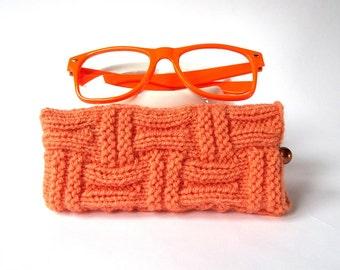 SALE - 10% Off! Orange Glasses Case. Eyeglasses Case. Eyeglasses Holder. Sunglasses Case. Sun Glasses Holder. Spectacles Case. Specs Holder.