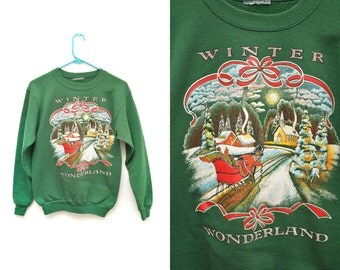 80s Winter Wonderland Santa's Sleigh Ugly Christmas Sweater Sweatshirt Pullover Size Small
