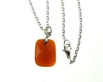 Orange Aventurine Necklace, Faceted Orange Aventurine Gemstone Necklace Pendant - Stone of Perseverance, Creativity & Vitality - SE-GSP281