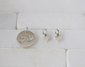 Heart Charm Set - Mommy and Child Charm Set - Mommy and Me Charm - Heart Charm - Sterling Silver Heart - Silver Heart Set - Mommy and Me