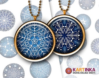1 inch (25mm) & 1.5 inch Digital SNOWFLAKES Printable images for Round pendants Bezel trays Bottle caps Glass cabochons Digital Download