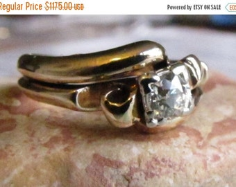 CUPID CHAOS SALE Old Mine Cut Diamond Ring, Antique Gold Engagement Ring in Yellow Gold - 1930s 1940s size 5 to 6